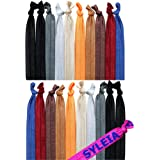 Syleia Pack of 20 Down to Earth Assorted Colors Hair Ties Ponytail Holders Elastic Ribbon Band Crease Free Hand Knotted Fold Over Ouchless Strong Hold