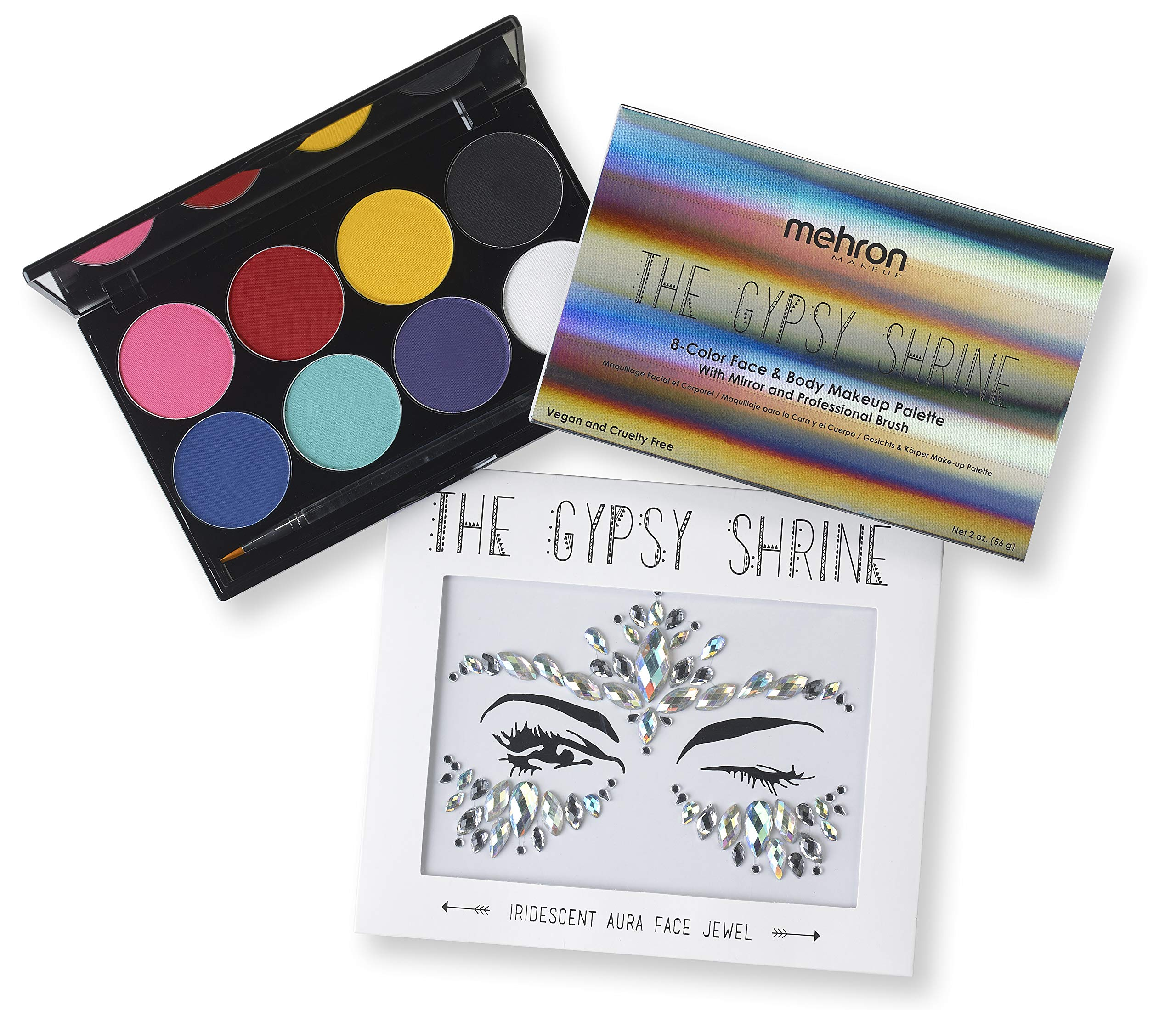 Mehron Makeup Face & Body Makeup Palette with The Gypsy Shrine Jewel Collection (Iridescent Aura)