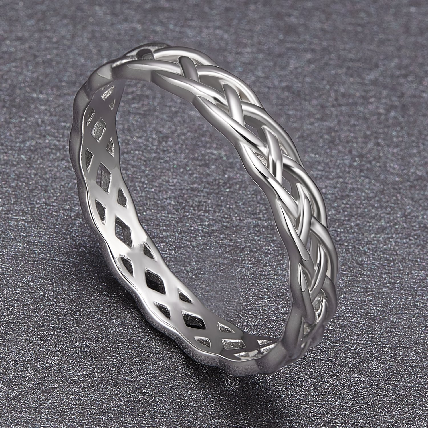 SOMEN TUNGSTEN 925 Sterling Silver Ring 4mm Eternity Knot Wedding Band for Women Size 7.5 by SOMEN TUNGSTEN (Image #2)
