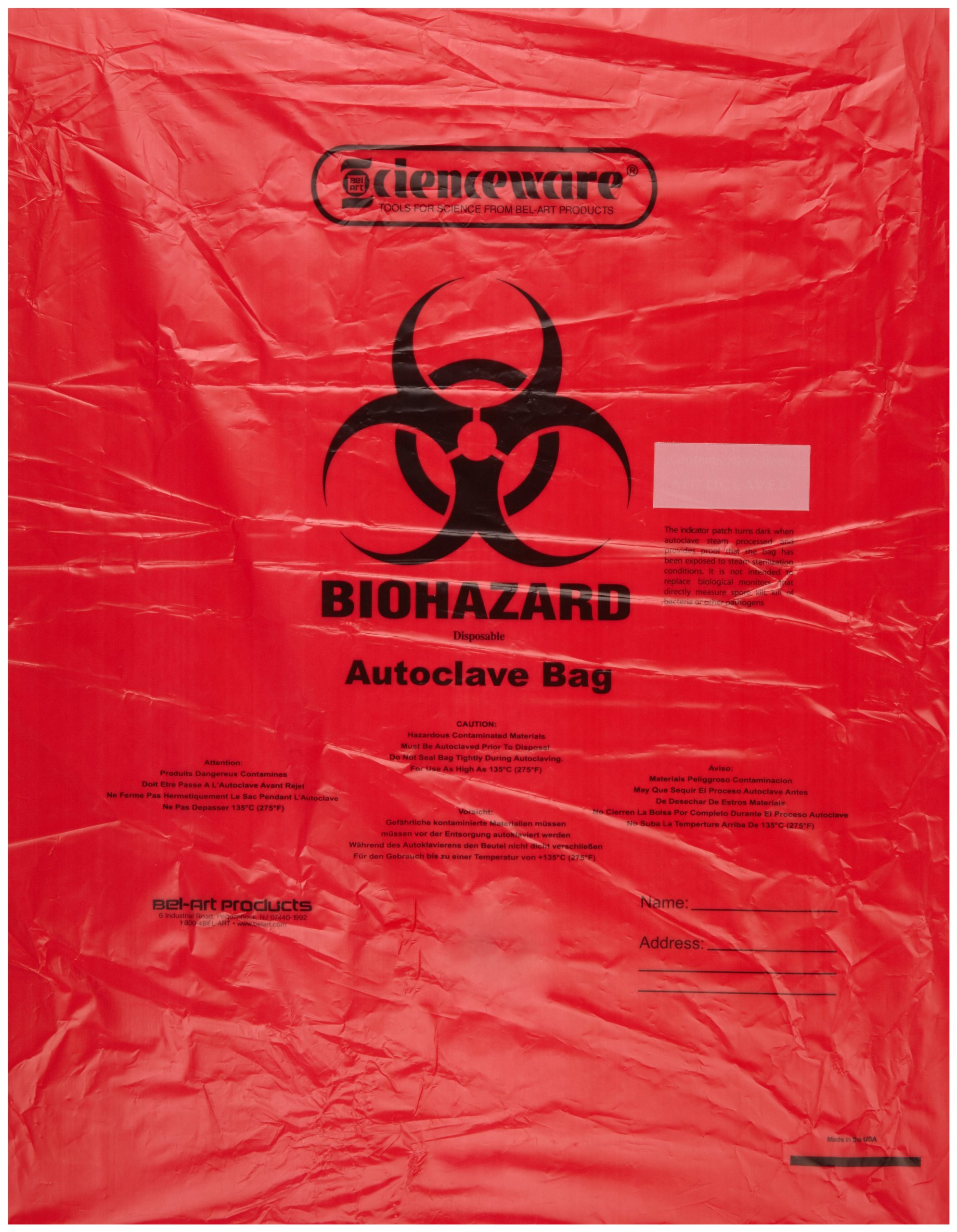 Bel-Art F13165-2535 Polypropylene 10-12 Gallon Super Strength Red Biohazard Disposal Bags with Warning Label/Sterilization Indicator, 25W x 35 in. H, 2.0mil Thick (Pack of 200)