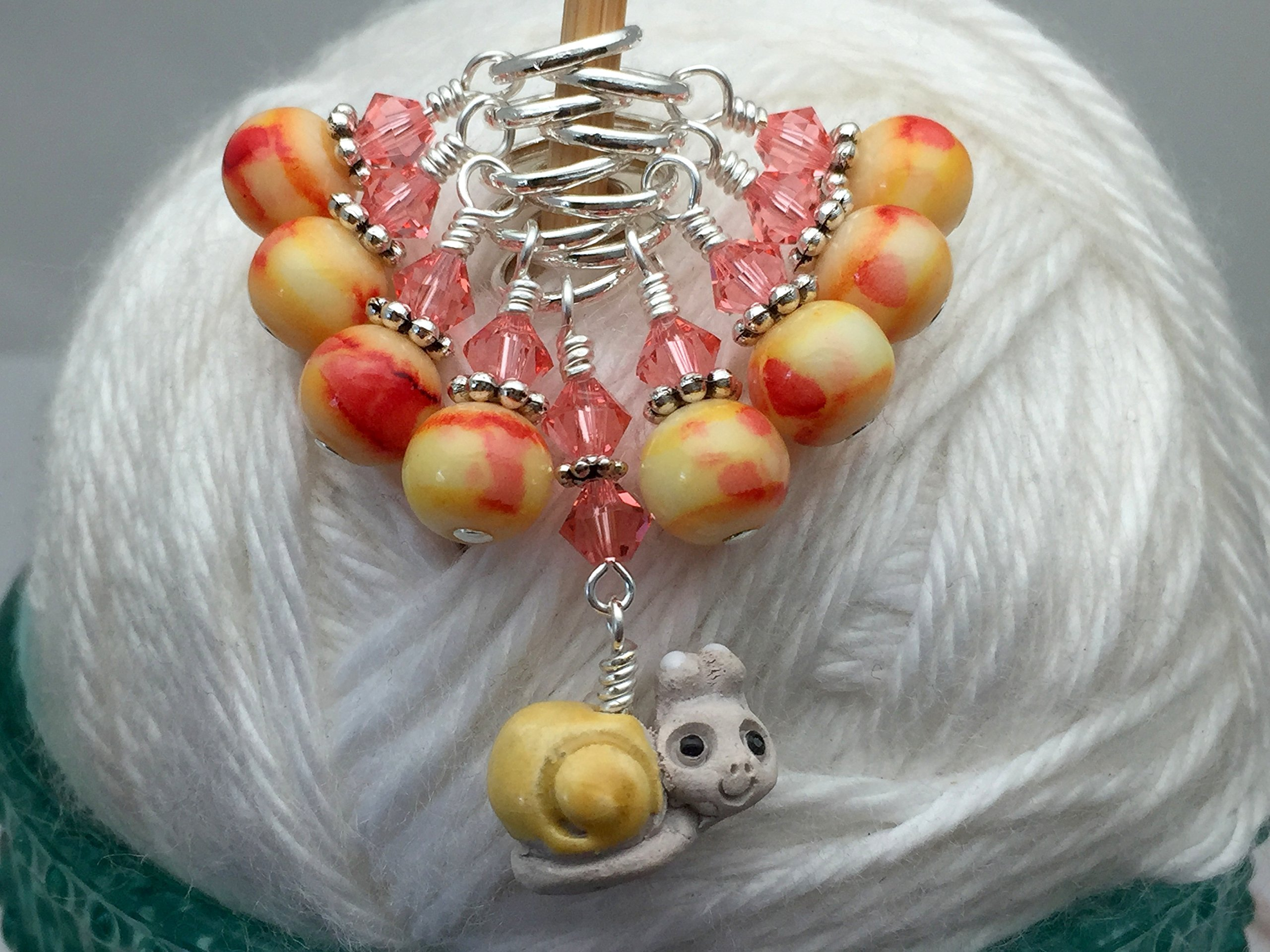 Cute Snail Stitch Marker Charm Set- Knitting Jewelry