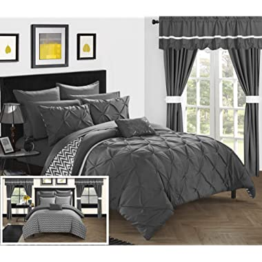 Chic Home Jacksonville 20 Piece Reversible Comforter Complete Bed in a Bag, Queen, Grey