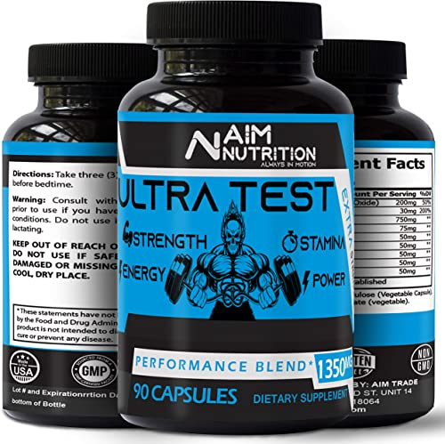 Extra Strength Testosterone Booster Supplement – Ultra Test Enhances Strength, Muscles Stamina – Supports Healthy Weight Test Levels with Estrogen Blocker 90 Capsules