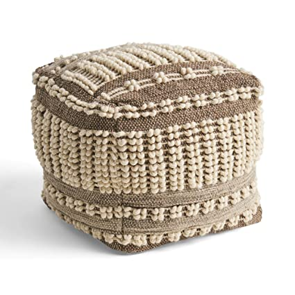 Terrific Amazon Com Hellen Boho Wool And Cotton Ottoman Pouf Gray Camellatalisay Diy Chair Ideas Camellatalisaycom