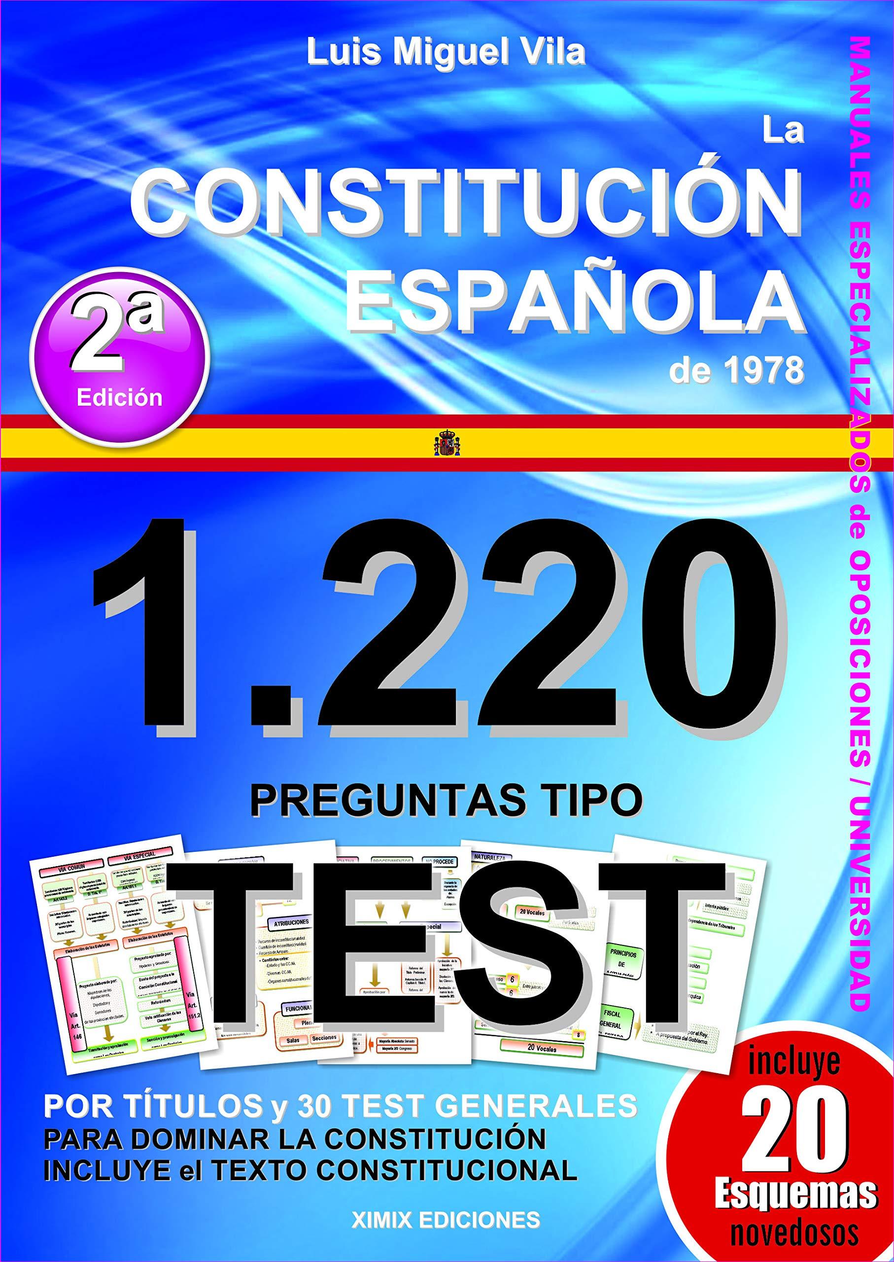 1220 Preguntas Tipo Test La Constitución Española De 1978