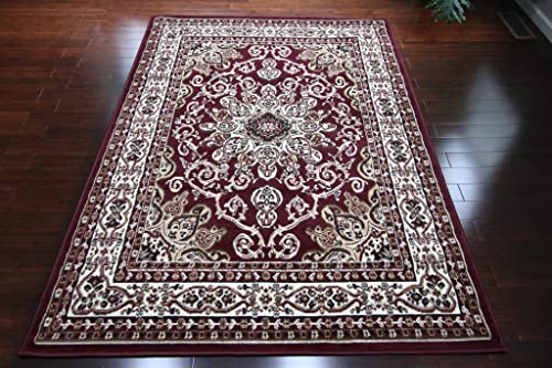 Generations New Oriental Traditional Isfahan Persian Area Rug Rugs Burgundy Red 8023red 13'1 x 16'