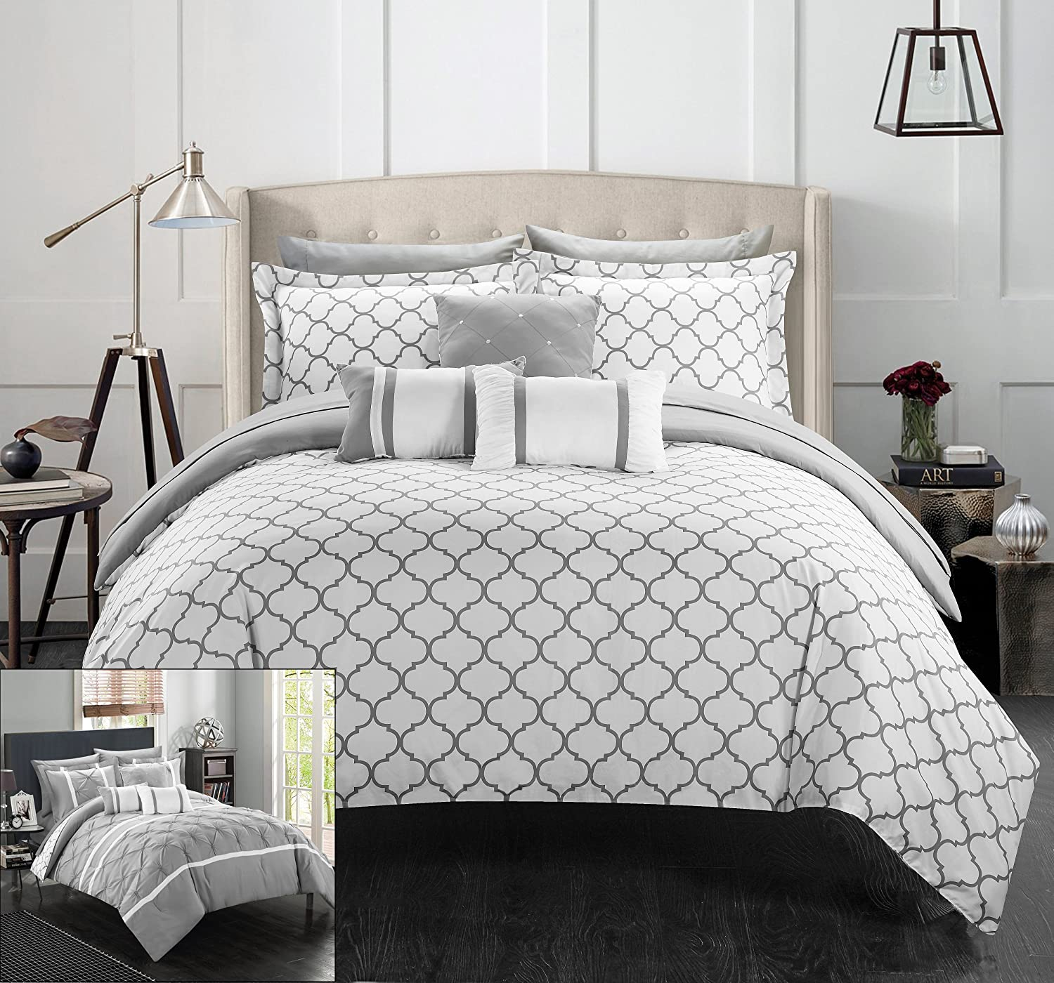 Amazon.com: Chic Home 10 Piece Dorothy Pinch Pleated Ruffled And Reversible  Geometric Design Printed Bed In A Bag Comforter Set, Queen, Grey: Home U0026  Kitchen