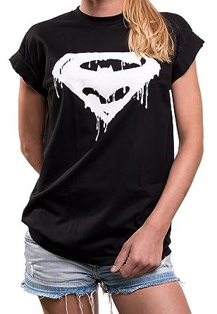 47a7fe5a2e24 MAKAYA Comic Shirt für Damen - Hipster Damenshirt mit Superhelden Print  locker lässig Superman Batman Joker