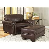 banner coffee color traditional classics highquality leather chair and a half with ottoman - Leather Chair And A Half