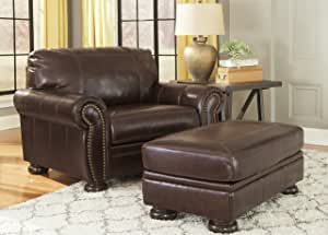FurnitureMaxx Banner Coffee Color Traditional Classics Leather Chair and a Half with Ottoman