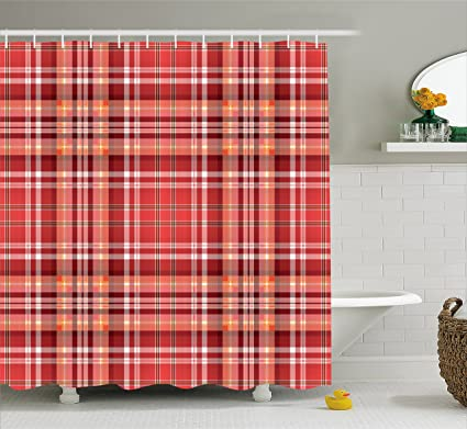 Ambesonne Checkered Shower Curtain Red Pink Orange Pattern With White Lines Cells Graphic
