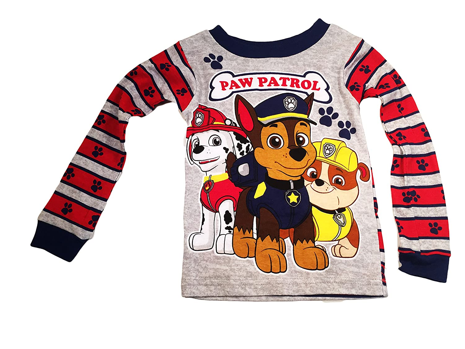 5e0b5b2145 Amazon.com  Paw Patrol Little Boys  Gray and Red Stripped Pajama Pants and  Long Sleeved Shirt Set (12 MONTH)  Clothing