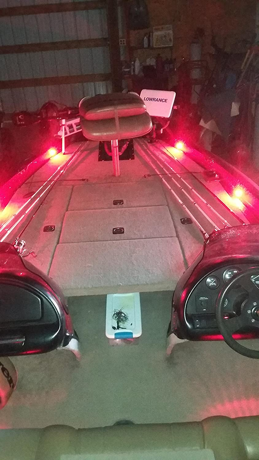 LED dimmer knob Oznium Bass Boat LED Deck Light Kit with 8 snap-fit LED Bolts Plug and Play Wiring