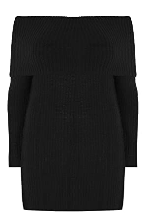 Yours Clothing Women/'s Plus Size Bardot Knitted Jumper