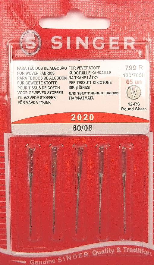 Singer - Agujas para máquina de coser (5 unidades, grosor 60/08 ...
