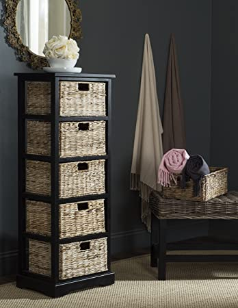 Safavieh American Homes Collection Vedette Distressed Black 5 Wicker Basket Storage Tower & Amazon.com: Safavieh American Homes Collection Vedette Distressed ...