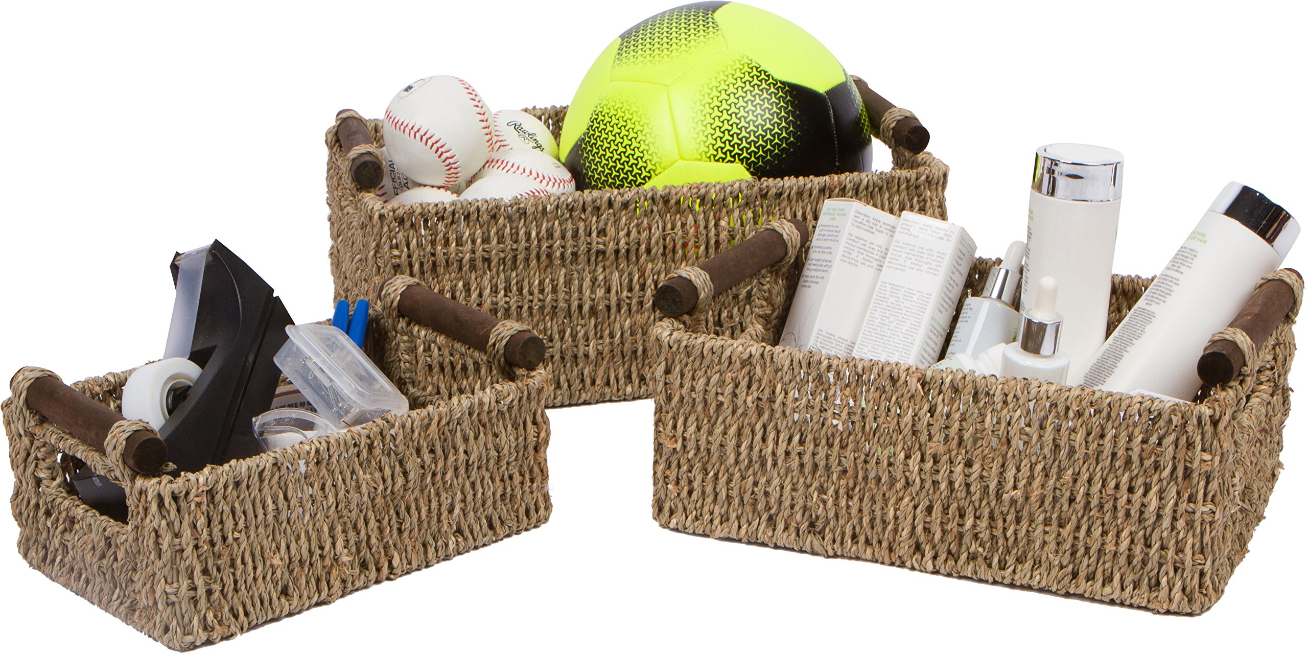Trademark Innovations Seagrass & Wood Handled Nesting Baskets by (Set of 3)