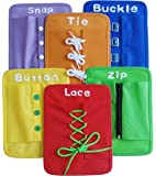 Yoovi Montessori Learn to Dress Boards Early Learning Basic Life Skills Toys - Zip, Snap, Button, Buckle, Lace & Tie 6 pcs/set