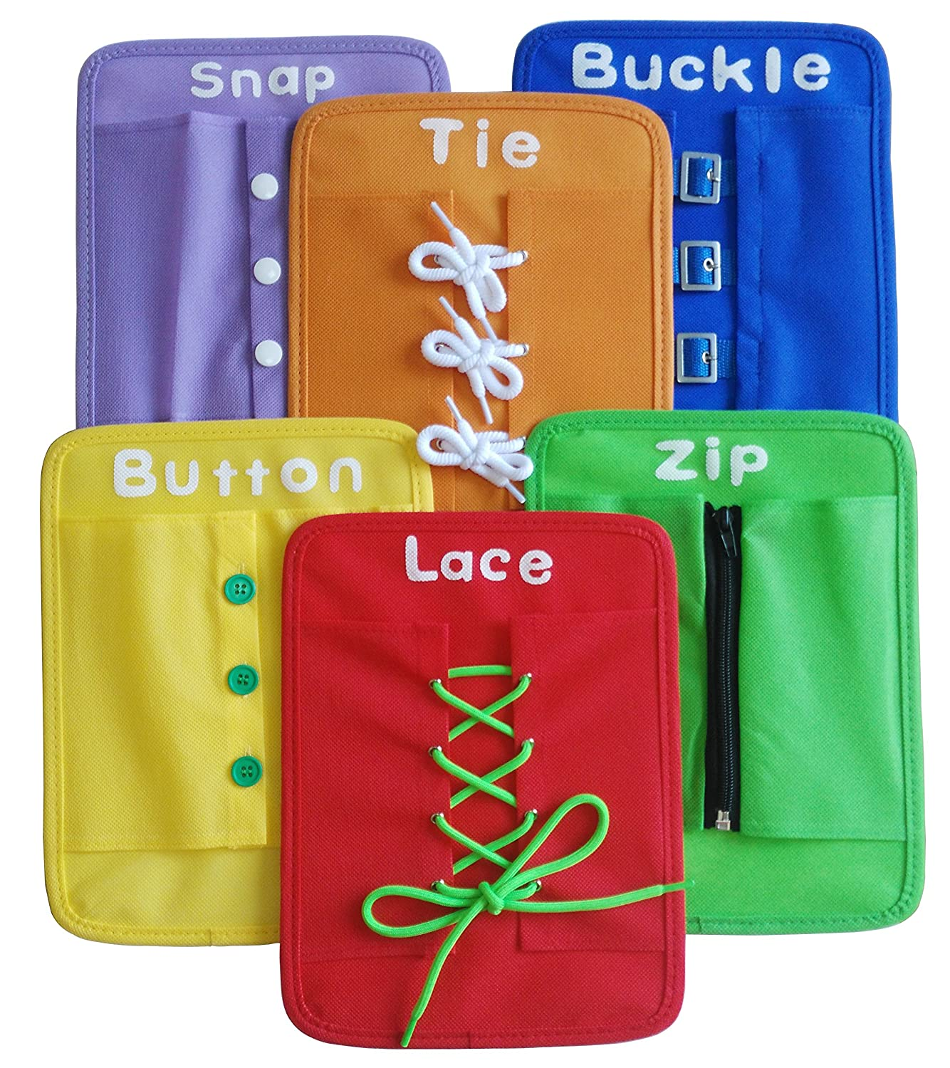 Yoovi Montessori Learn to Dress Boards Early Learning Basic Life Skills Toys - Zip, Snap, Button, Buckle, Lace & Tie 6 pcs/set Houyue
