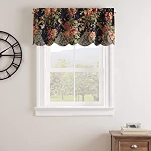 "Waverly Kensington Bloom Short Valance Small Window Curtains Bathroom, Living Room and Kitchens, 52"" x 18"", Gem"