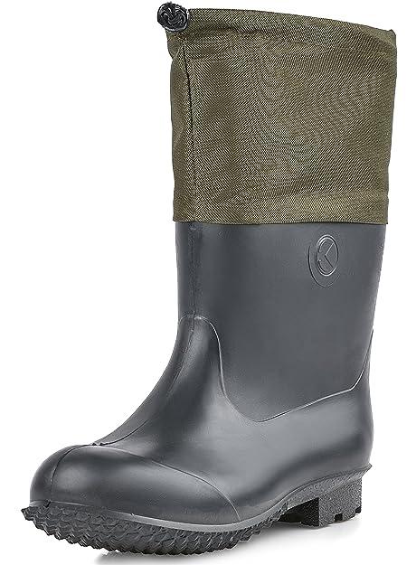 Ladeheid PVC Botas de Goma Zapatos de Seguridad Calzado Hombre KL022 (Negro, 40)