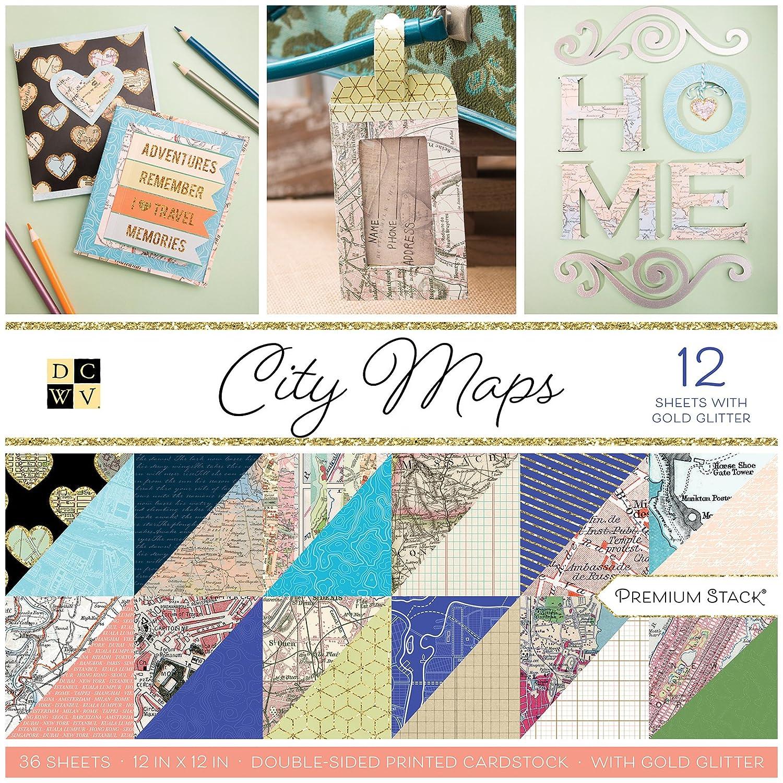 DCWV City Maps Paper Pad 30x30cm PS-002-00025