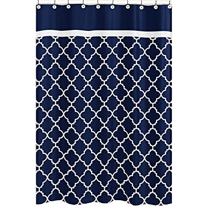 72quotx72quot Navy Blue White Moroccan Trellis Pattern Shower Curtain Elegant Luxurious Rich