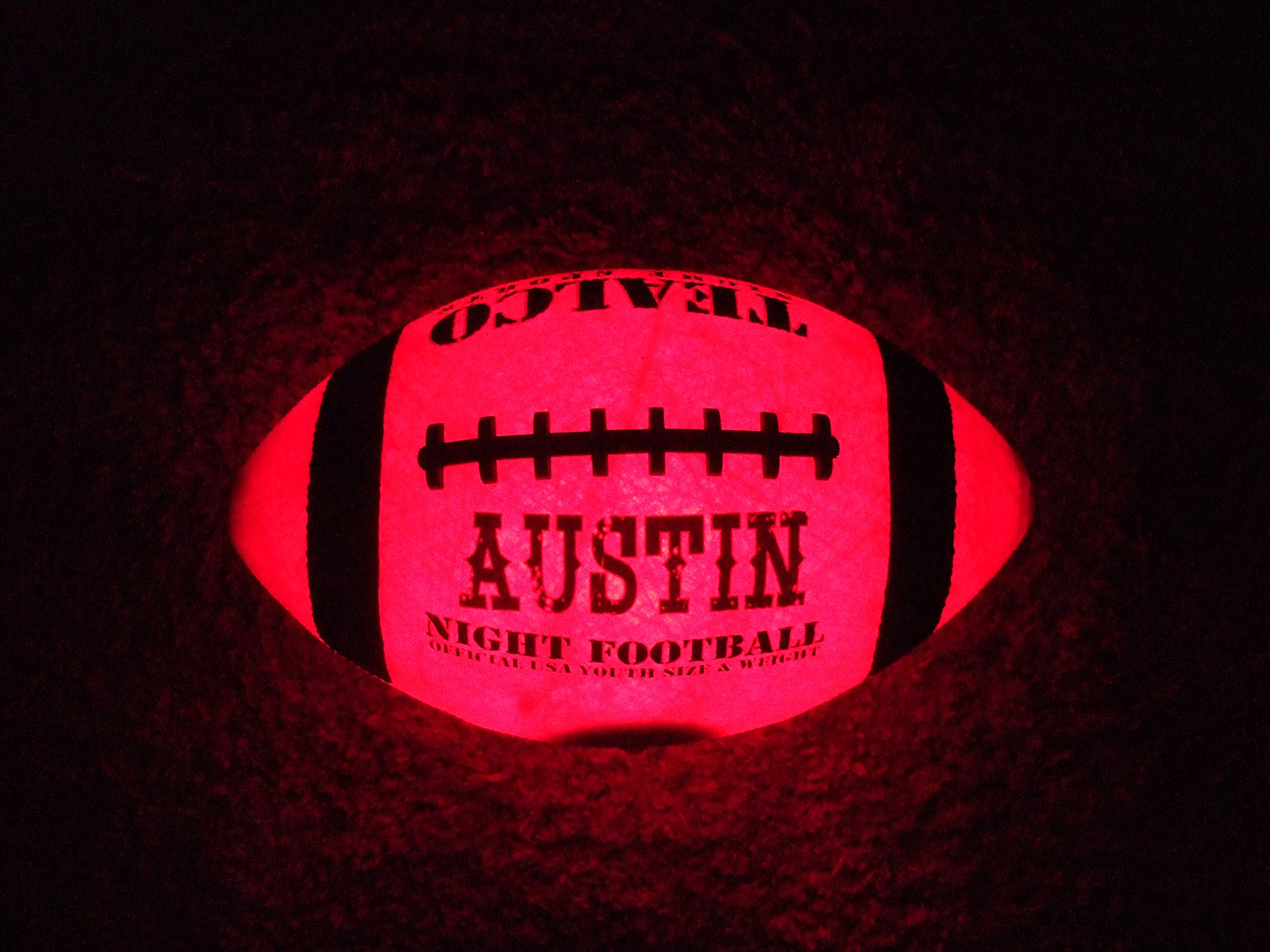 TealCo Custom Light-up Football (Adult Size, Correct Weight, LED-Lighted Glow in The Dark!)