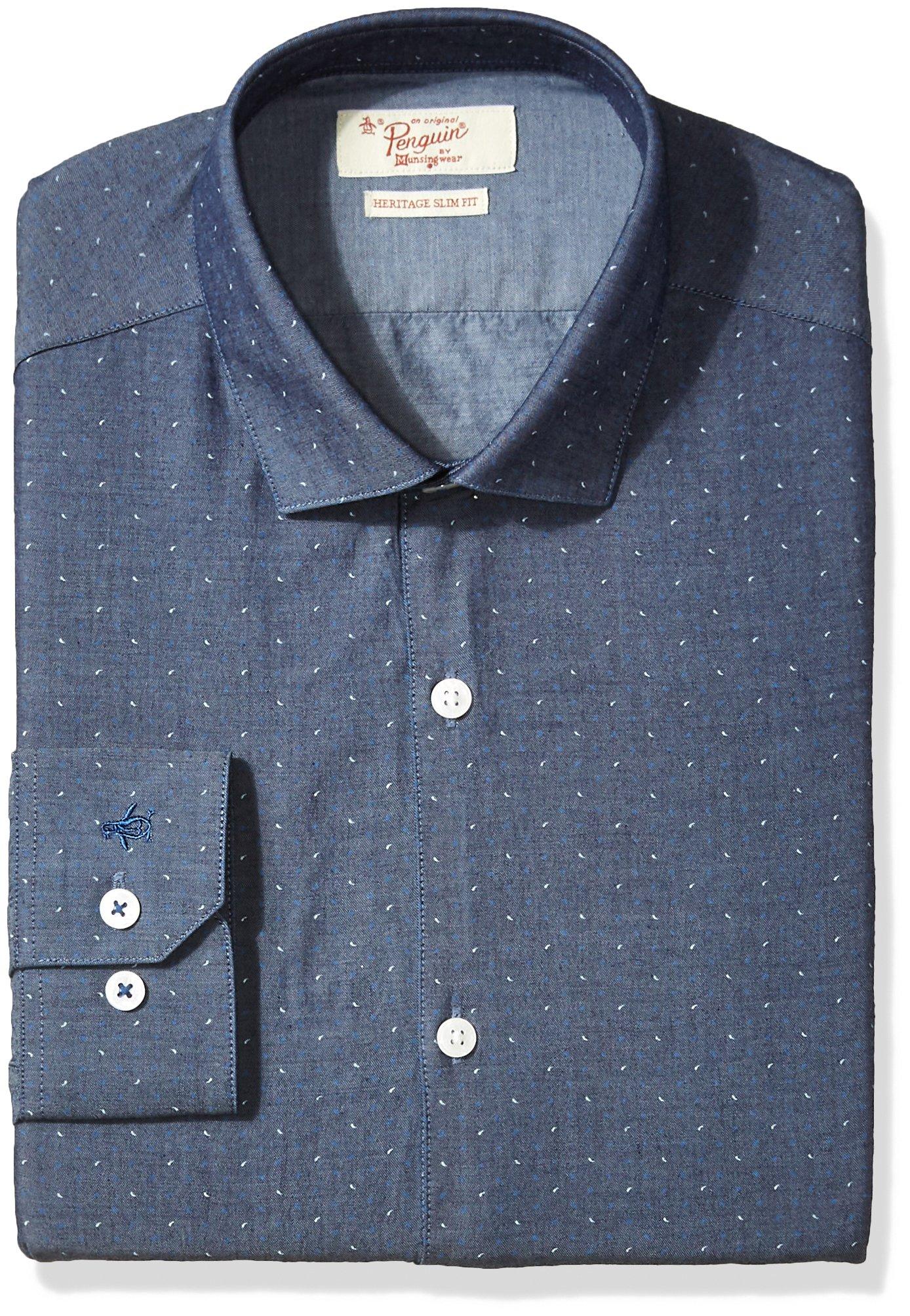 Original Penguin Men's Slim Fit Performance Spread Collar Printed Dress Shirt, Indigo, 17 32/33