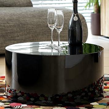 Couch-Tisch schwarz Hochglanz rund aus MDF | Durchmesser 60cm ...