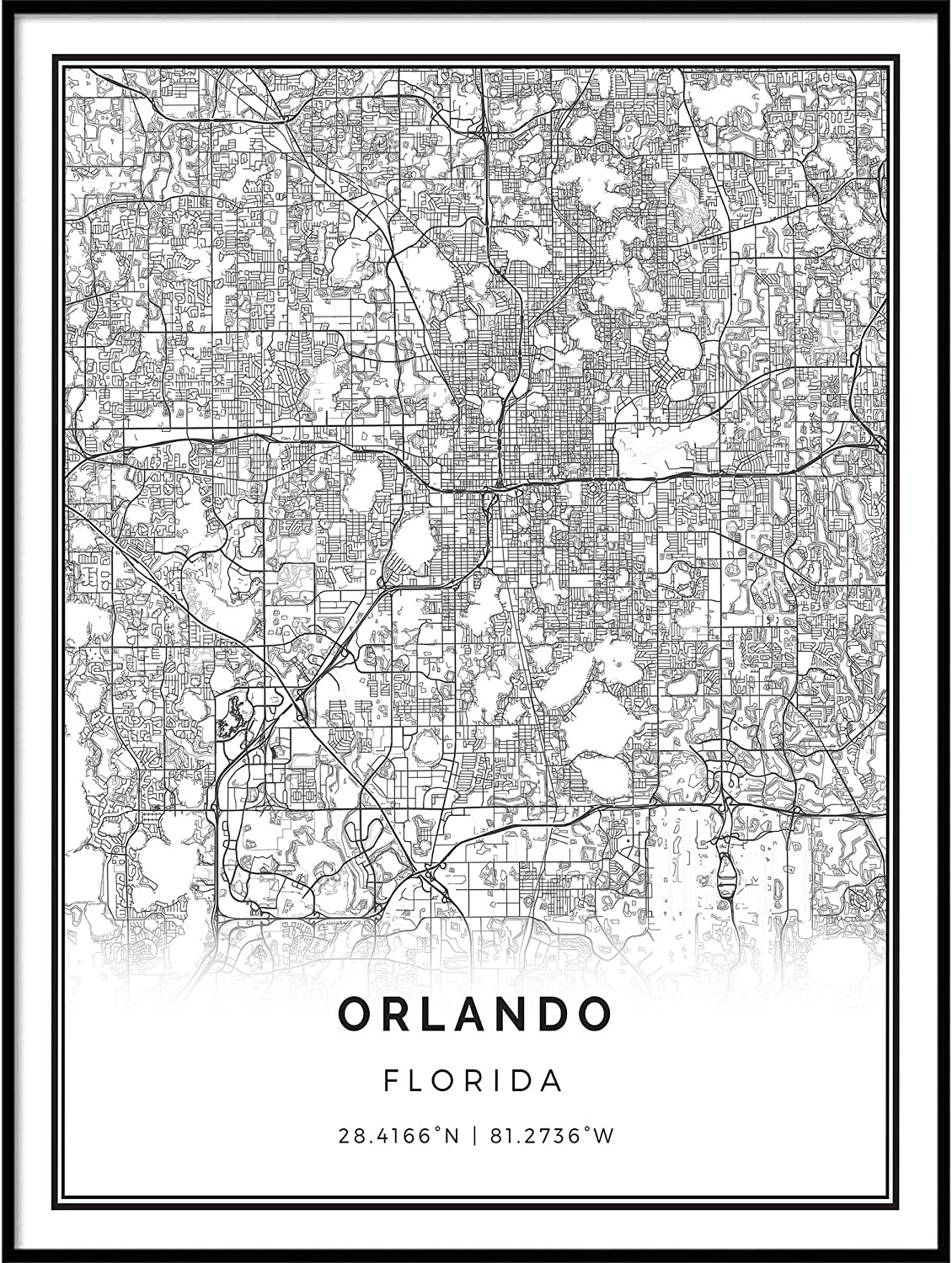 Squareious Orlando map Poster Print | Modern Black and White Wall Art | Scandinavian Home Decor | Florida City Prints Artwork | Fine Art Posters 24x36