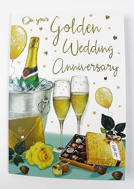 Golden aniversario de boda Tarjeta de felicitación Pareja 50 años ...