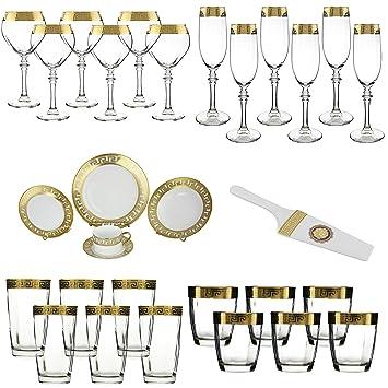 Oro vajilla cocina Versace inspirado – Count, copas de copa de vino blanco Set,