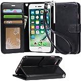 【Arae】 iPhone 7 ケース / iPhone 8 ケース 手帳型「 スタンド機能 カードポッケト ストラップ」人気 おしゃれ 落下防止 衝撃吸収 財布型 おすすめ アイフォン 7 / アイフォン 8 用 ケース カバー(ブラック)