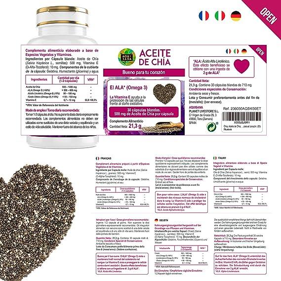 Aceite de Chía -Aquisana | salud para nuestro organismo - Complemento alimenticio de cápsulas de chía | Extracto de semillas de chía con omega 3, 6 y 9 y vitamina E -