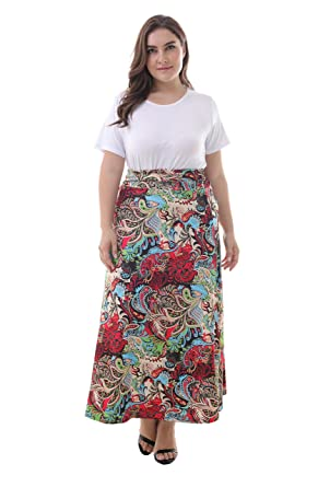 5532b0c07ee ZERDOCEAN Women s Plus Size High Waisted Bohemian Printed Long Skirt  color02 1X