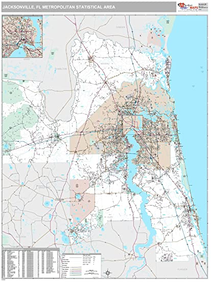Amazon.com: MarketMAPS Jacksonville, FL Metro Area Wall Map - 2018 ...