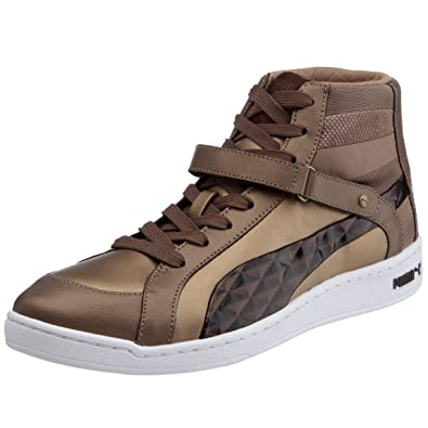 a8cbafcfd3a Puma The Key Quilt Womens Leather Mid Top Trainers Shoes - White-Bronze-