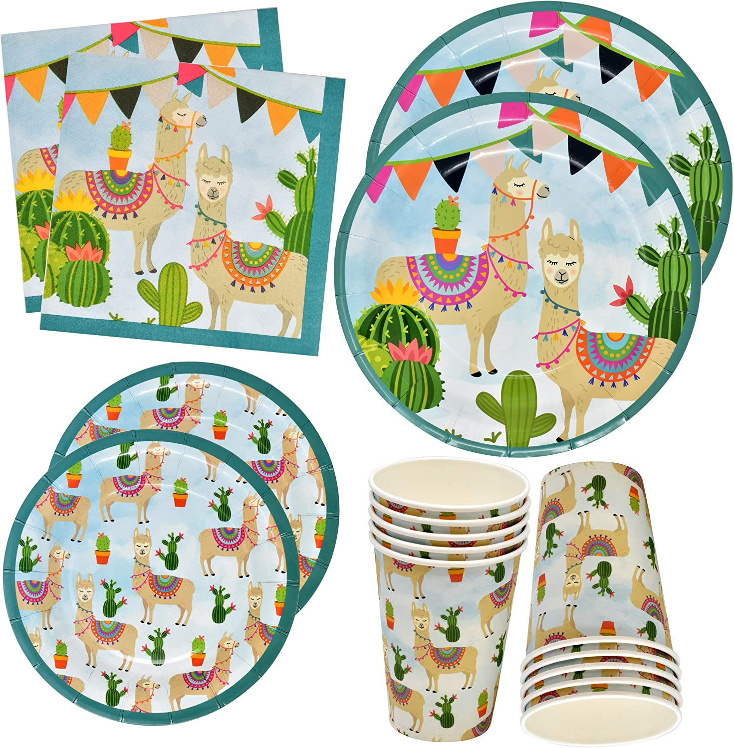 Amazon Com Llama Cactus Party Supplies Set 24 9 Plates 24 7 Plates 24 9 Oz Cups 50 Lunch Napkins For Birthday Baby Shower Fiesta Party Tableware Themed Decorations Disposable Paper Dinnerware By