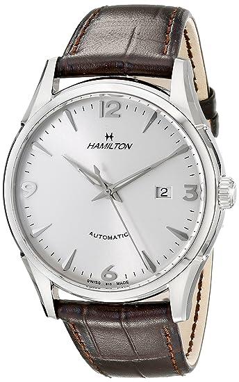 Plata Hamilton Automático Cuero Correa Dial Reloj De Hombre 42mm KJFTl1c3
