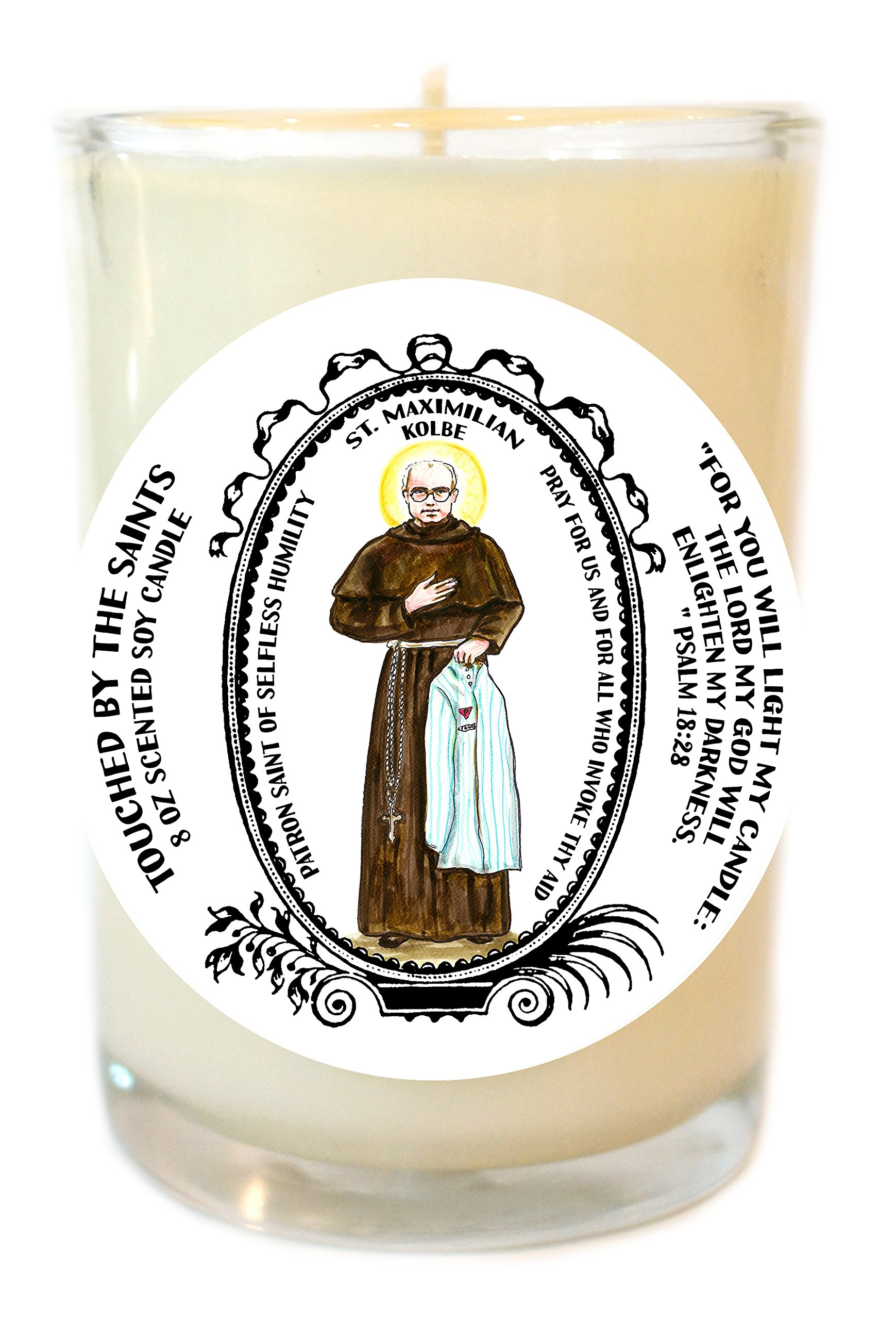 Saint Maximilian for Selfless Humility 8 Oz Scented Soy Glass Prayer Candle