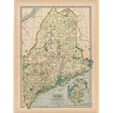 Historic Pictoric Map - Maine 1897 - The Century Atlas World - Vintage Poster Art Reproduction - 24in x 18in