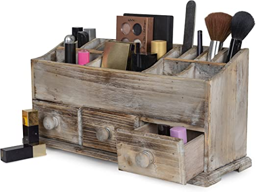 Makeup Brushes Accessories Wooden Container Storage Organizer Bedroom Home Decor