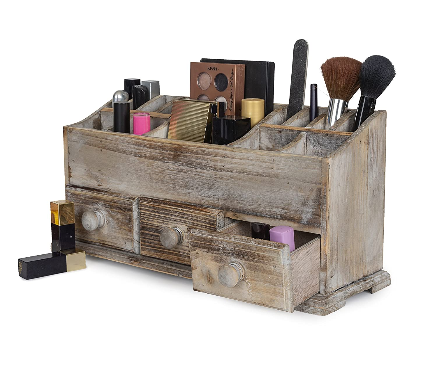 VANITY DRAWER BEAUTY ORGANIZER 3 Drawers - Wooden Cosmetic Storage Box for Neat & Organize Storing of Makeup Tools, Small Accessories at Home & Office Vanities & Bathroom Counter-top (Rustic)