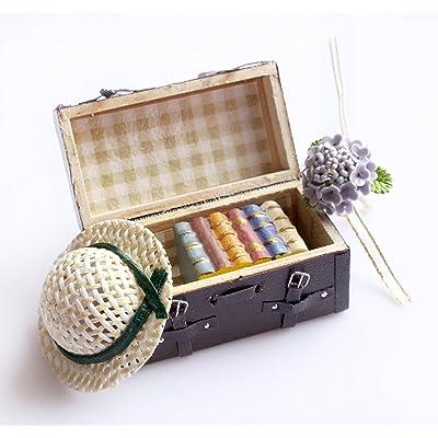 1:12 Miniatura de la casa de muñecas que lleva el cuero de la vendimia Maletín de madera marrón de la mini maleta para los muebles de la casa de muñeca: Hogar