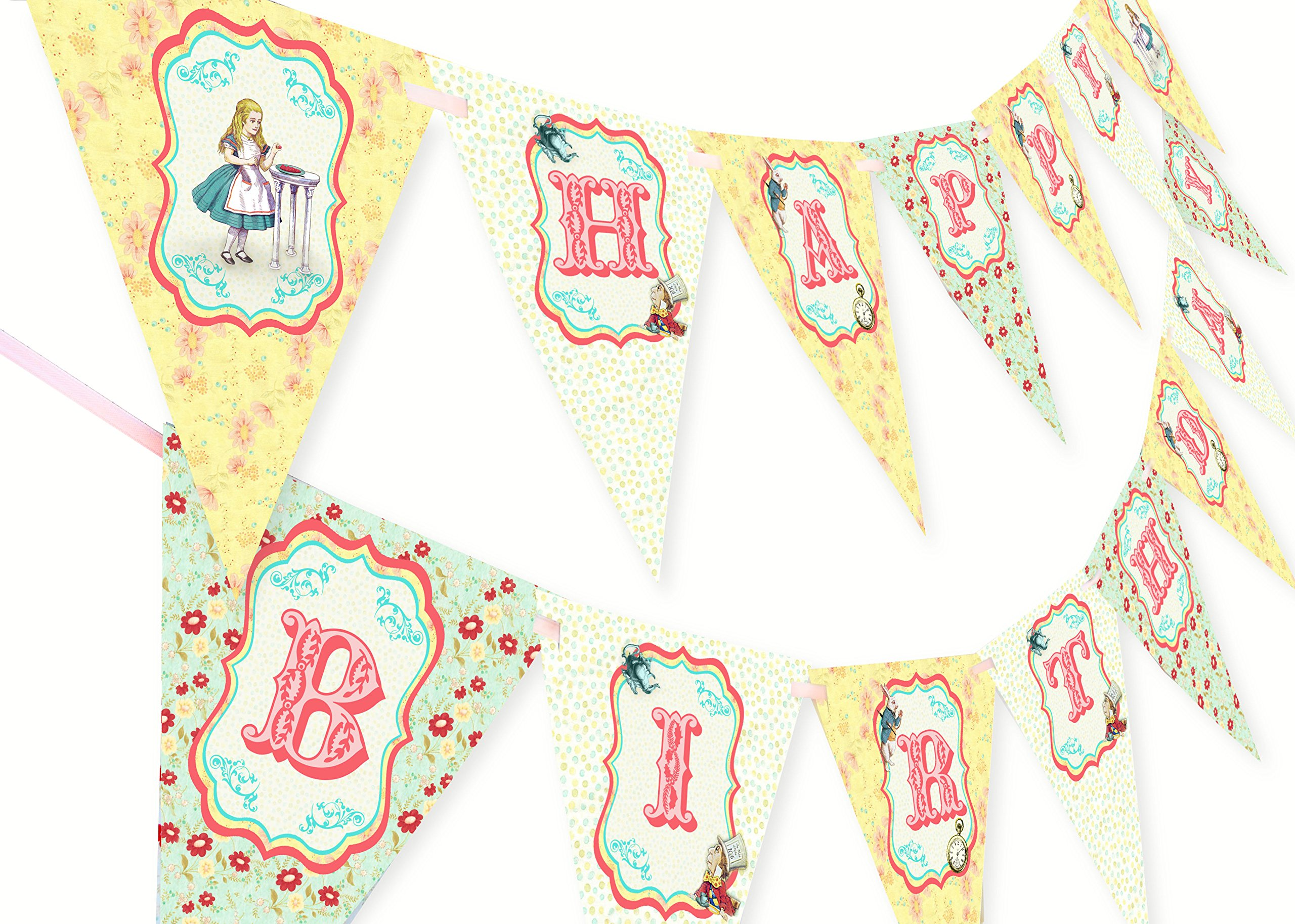 POP parties Alice in Wonderland Happy Birthday Banner