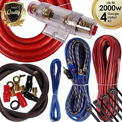 Complete 5 Channels 2000W 4 Gauge Amplifier Installation Wiring Kit Amp PK2 Red