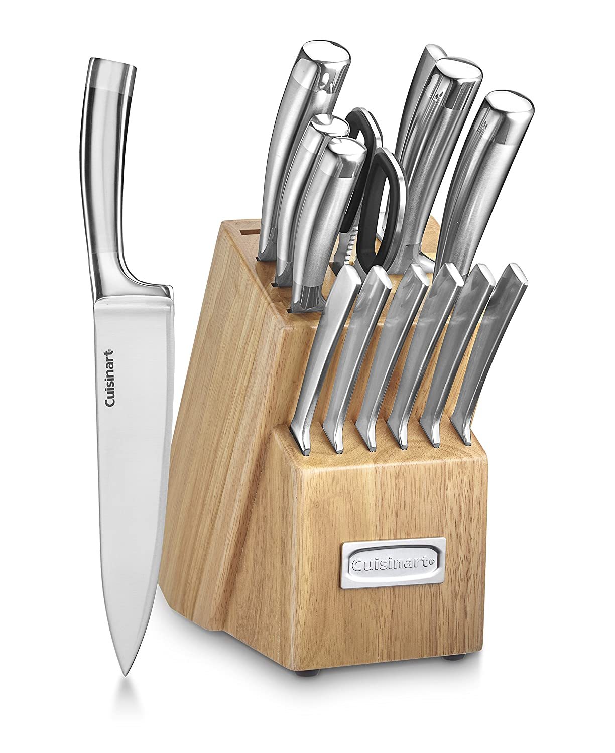 Cuisinart C99SS-15P 15 Piece Stainless Steel Blades Set with Wood Block, Silver