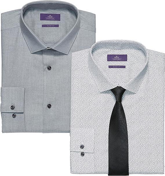 next Hombre Paquete De Dos Camisas Y Corbatas Estampadas En Gris ...
