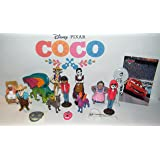 Disney Coco Movie Deluxe Figure Set of 15 Toy Kit with Figures, Charm, Tattoo, and Sticker featuring Miguel, Dog Dante, Papa Julio, Pepita the Spirit Guide, Guitar and More!